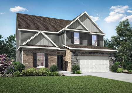 The Hartwell exterior rendering with brick and light grey siding, white trim, white 2 car garage, shingle roof and landscaped front yard
