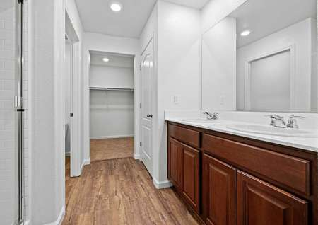 Master bath with dual sink vanity and wood-style flooring.
