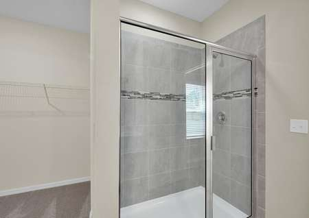 Step-in shower and walk-in closet are located in the master suite.