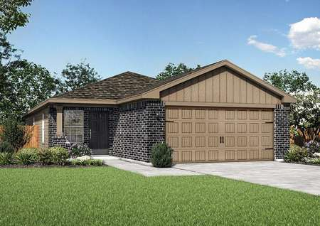 Hawthorn finished rendering with dark brickwork, tan dual-car garage and trim, and green lawn
