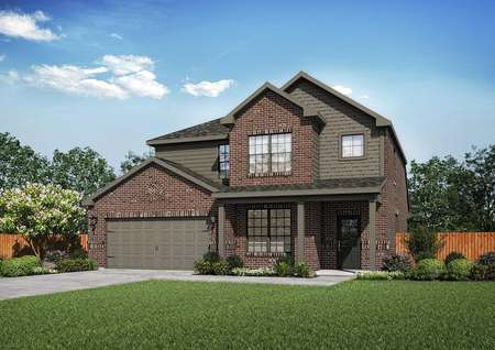 Superior two-story home exterior, with dark brown siding on brick finish, green grassy yard, and two-car garage