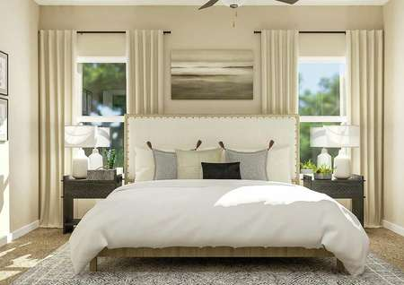 Rendering of the spacious master bedroom   with a large wood and cream fabric bed centered between two windows.