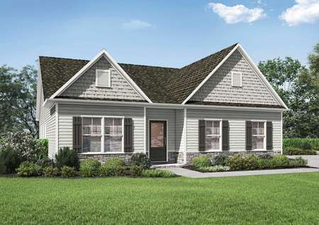 Side renderingsof the Kiawah floor plan's one story model home with an extended driveway.