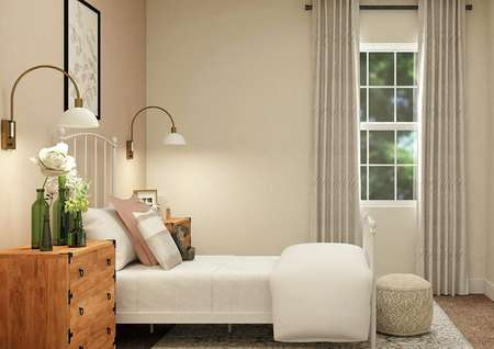 Rendering of a second bedroom with a window, tan walls and a light pink accent wall. The space is decorated with a bed, two nightstands and a rug.