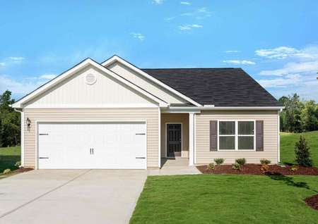 Alamance home plan front house with green grass and peach paint