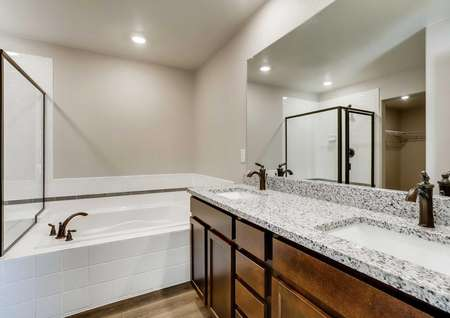 San Juan bathroom with two sinks, granite countertops, and separate bath and shower