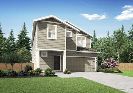 Juniper plan model home with light brown wood exterior, a brown door and white wood trim around the windows.