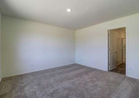 A spare bedroom in the Cottonwood floor plan with light brown carpet, white baseboards and white walls.