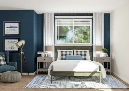 Rendering of a spacious bedroom in the   Waverly plan that has a large window, wooden bed and two nightstands. A blue   armchair and floor lamp also fill the space.