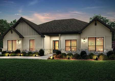 Elevation rendering at dusk of the Fairview plan with tan stucco and stone accents.