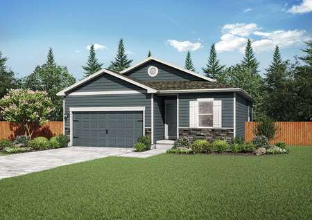 Arapaho street view with dark grey siding with white trim, green grass, and wood fencing