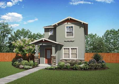 The Crystal floor plan renderings of the two-story home that has bushes, plants and grass in the front yard.