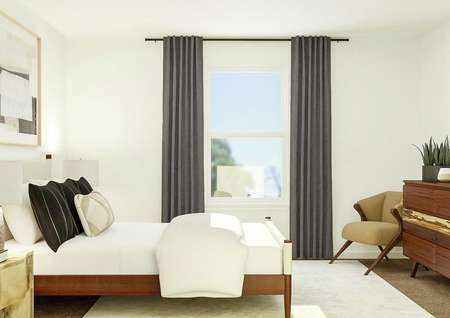 Rendering of owners bedroom with side   view with large window, large storage space, and tv above storage.