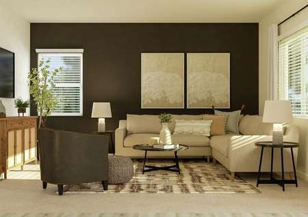 Rendering of the spacious living room   with two windows, carpeted flooring, two tan walls and a dark accent wall.   The space is furnished with a cream sectional couch, black coffee and side   tables, black leather armchair and a mounted tv.
