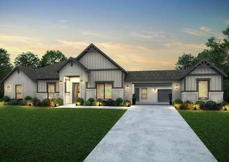 Dusk rendering of the Garza plan with a porte cochere, tan stucco and siding accents.