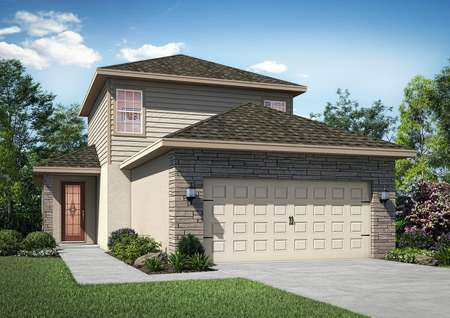 Two-story floor plan with stone on the garage and a walkway leading to the front door.