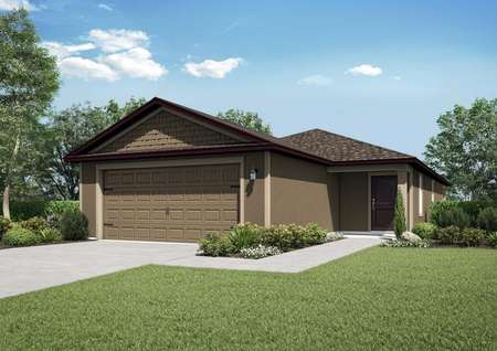 One-story home with a two-car garage and front yard landscaping.