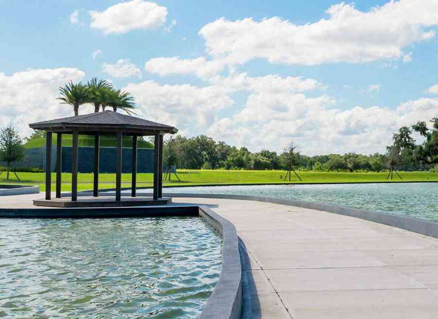 Mirada new home community park trails, water feature, and gazebo