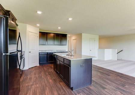 Hennepin kitchen with granite counters, modern appliances, and recessed lights