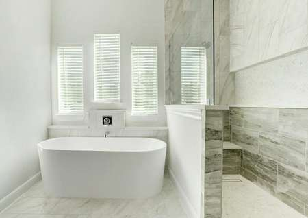 The master bath has a spacious tile-lined shower and a freestanding tub.