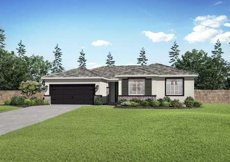 Aster new home rendering with dark shutters and garage door, green grass, and single story