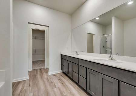 Master bathroom in the Oakmont floor plan with light vinyl wood style flooring, dark brown cabinets, white countertops with full mirror, and walk in closet
