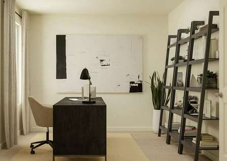 Rendering of a secondary bedroom   decorated with a desk, light tan rug, bookshelves and a large black-and-white   painting.