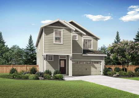 Larch new home rendering with white trimmed windows and fascia, two living levels, and two car garage door