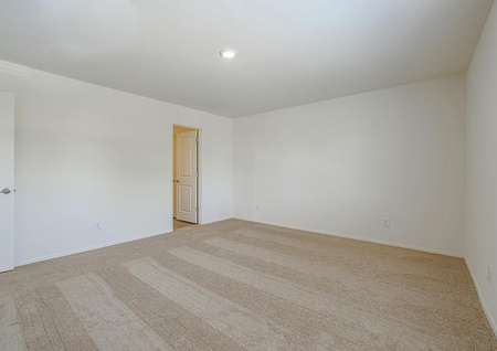 Large master bedroom with tan carpet and attached bathroom.