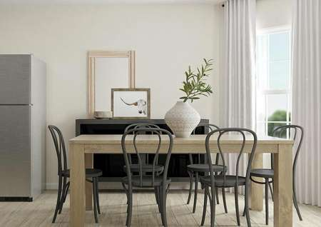Rendering of dining area with light wood   look flooring, window and cream walls. Kitchen is visible on the left.