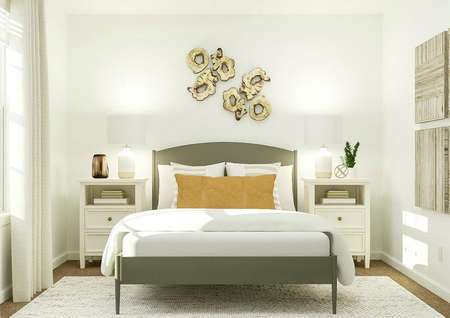 Rendering of bedroom area with large bed,   dual side tables and artwork above bed.