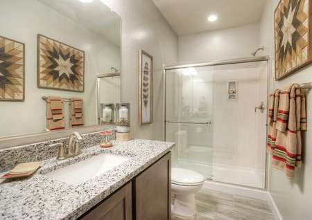 Mead guest bath with granite countertop, undermount sink, and walk-in shower with modern fixtures