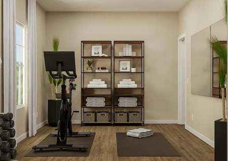 Rendering of the flex space in the   Jackson with a window on the left wall, bookshelves with towels and   decorations on the back wall and a mirror on the right wall. In the center of   the room is an exercise bike and yoga mat.