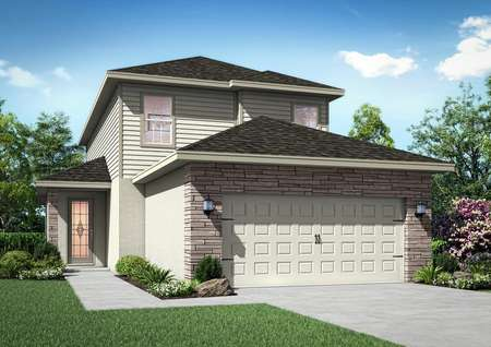 Floor plan with two floors and stone wrapped around the two-car garage.