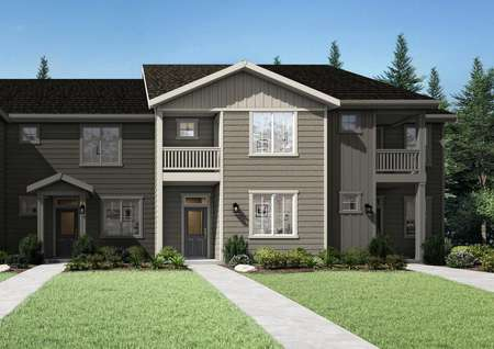 TheEstacada floor plan renderings with a sidewalk that leads to the home entryway.