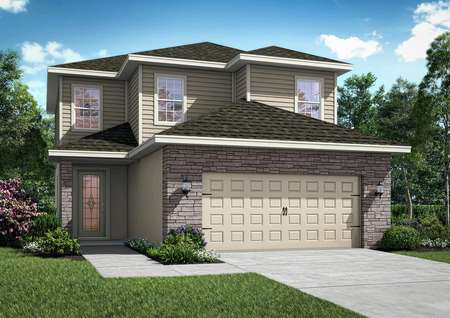 A new-construction home with two floors, and stone wrapping around the two-car garage.
