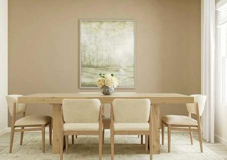 Rendering of the dining area with a large   rectangular wooden table with six dining chairs in front of a light brown   accent wall. On the right is a window with white curtains.