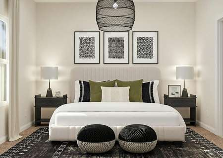 Rendering of the master suite with a   window, carpeted flooring covered by a black-and-white rug, large bed and two   nightstands.