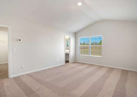 Ashley master retreat with carpet floors, vaulted ceilings, and large window