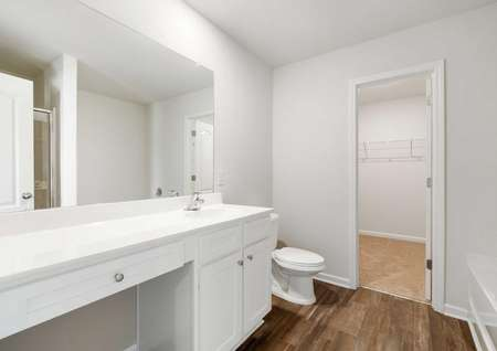 Camden master bathroom and walk-in closet with grey walls, white trim, and large vanity