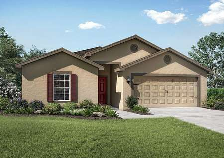 Exterior view of the Capri floor plan model with a two-car garage and a beautifully landscaped front yard.