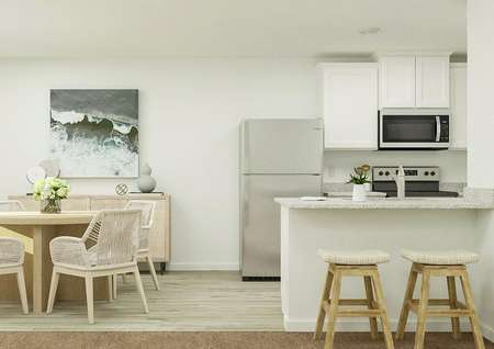 Rendering of dining area with view from   living area with barstool seating and round kitchen table.