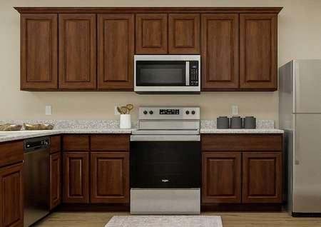 Rendering of kitchen with brown cabinets,   stainless steel appliances and granite counters