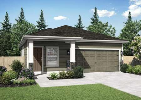 Aspen new home rendering with one floor, white on brown siding, and landscape front yard