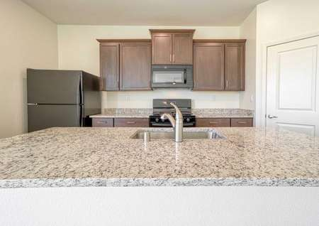 Aster kitchen with large granite counters, black appliances, and plenty of cabinet storage