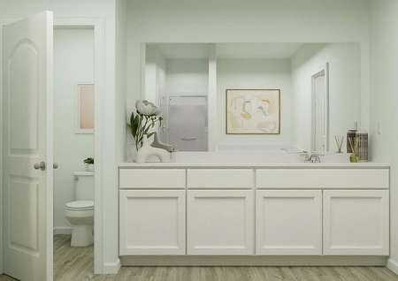 Rendering of owners bath with large   countertop space and white finishes, adjacent to owners closet.