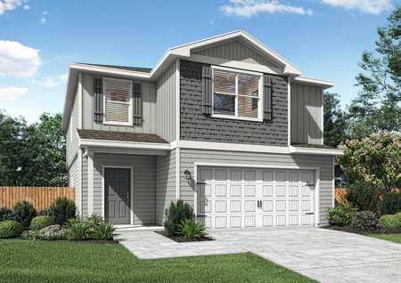 Beautiful two-story home with gray siding.