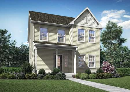 Artist rendering of the 2-story Susan plan with pale yellow siding and shake shingle accents, plus a covered front porch with 3 columns, glass front door, and 6 windows.