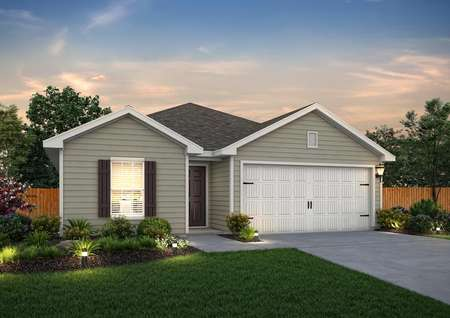 Dusk rendering of the Trinity, built with tan siding and dark brown shutters