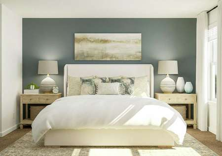 Rendering of the spacious master bedroom   in the William, which has a large bed flanked by two nightstands against a   blue-gray accent wall. On the adjacent wall are two windows with white   curtains.